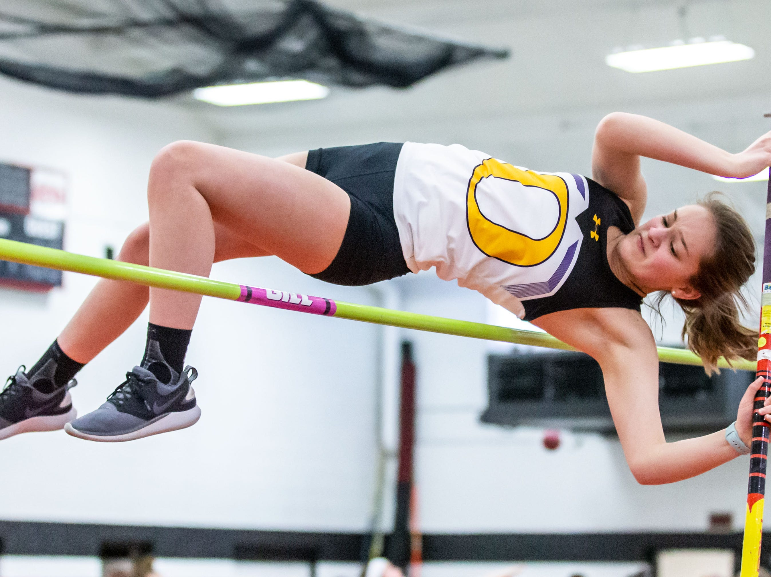 Oconomowoc's Sarah Kountz competes in the pole vault at the Peter Rempe Cardinal Relays hosted by Waukesha South on Thursday, March 21, 2019.