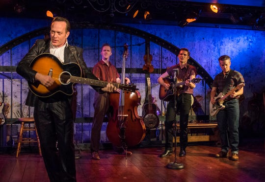 """Kent M. Lewis (left), James David Larson, Corbin Mayer and Paul Wyatt perform in """"Ring of Fire: The Music of Johnny Cash,"""" staged by the Milwaukee Repertory Theater."""