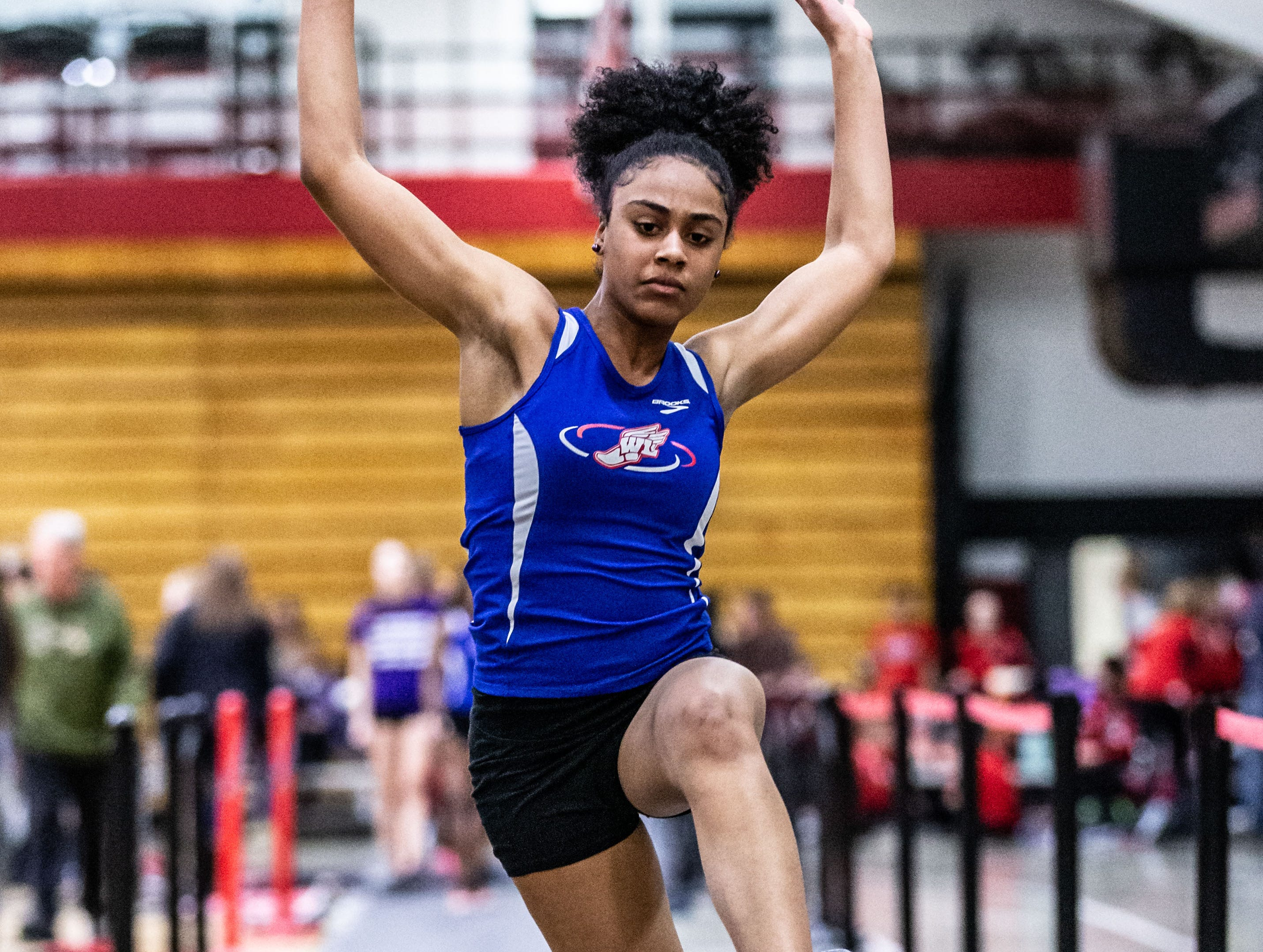 Wisconsin Lutheran's Maya Dorsey competes in the long jump at the Peter Rempe Cardinal Relays hosted by Waukesha South on Thursday, March 21, 2019.