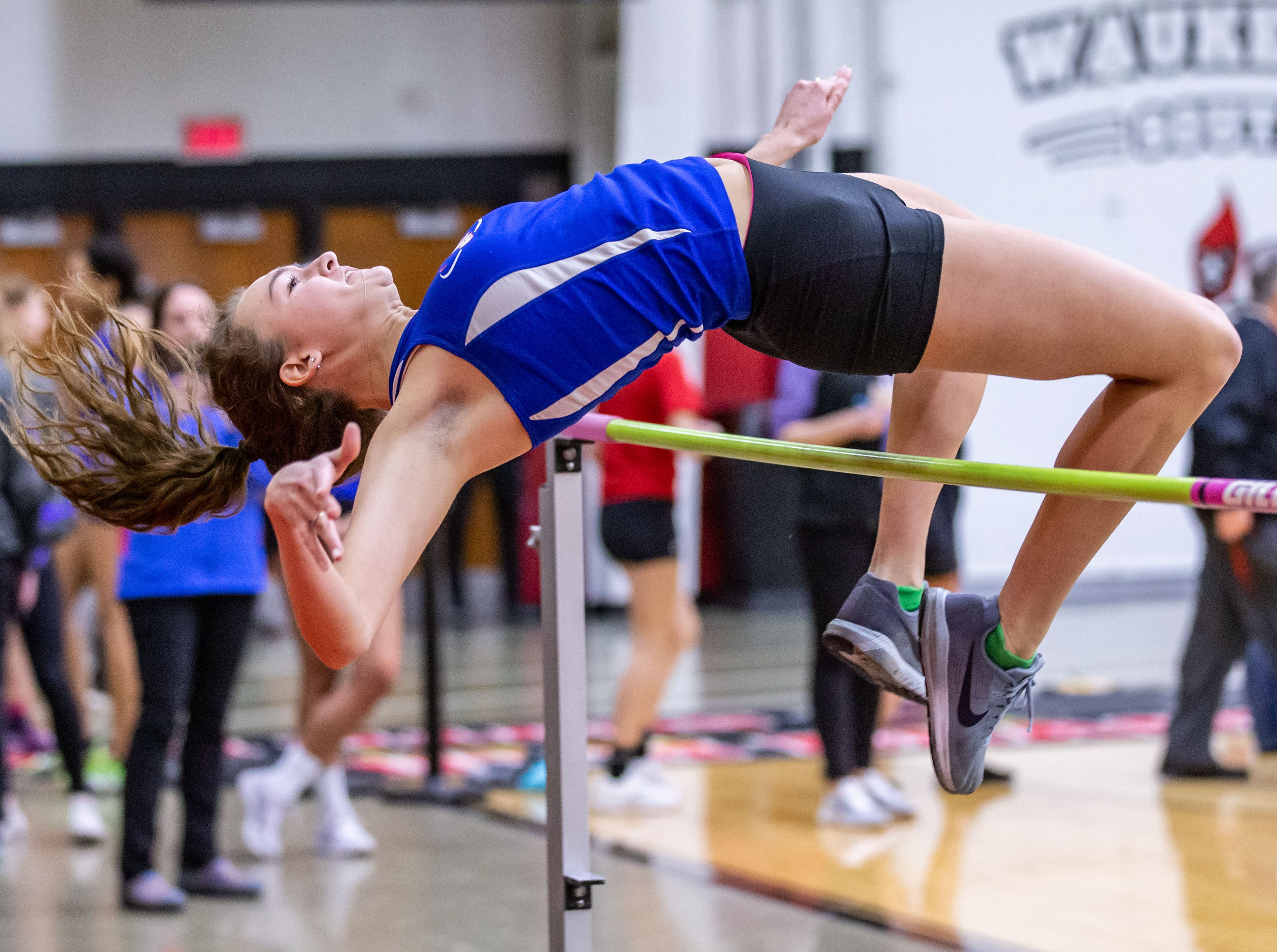 Wisconsin Lutheran's Ashley Carlson competes in the high jump at the Peter Rempe Cardinal Relays hosted by Waukesha South on Thursday, March 21, 2019.