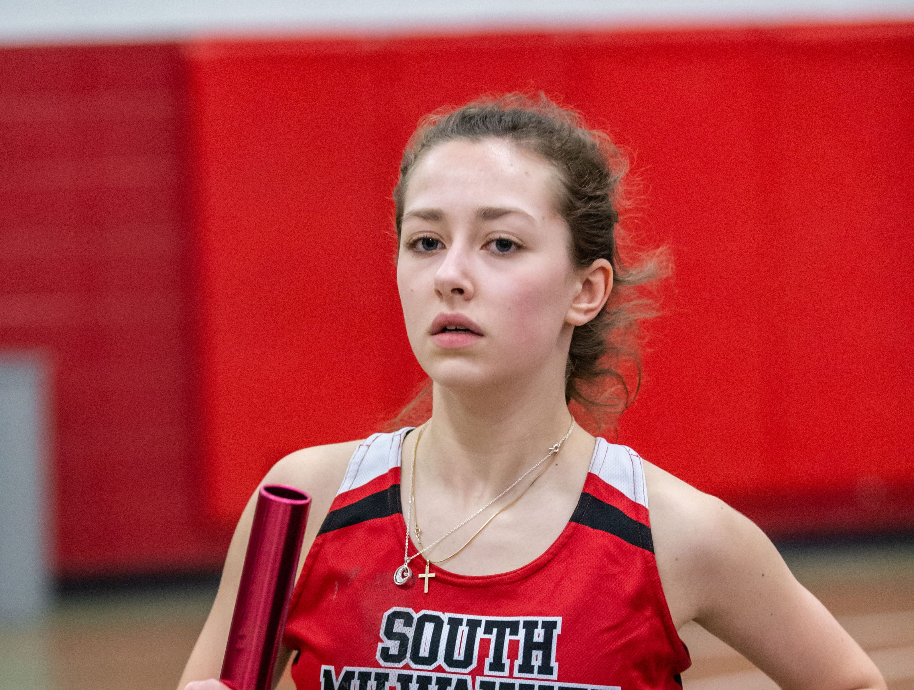 South Milwaukee's Kayla Solomon competes in the distance medley at the Peter Rempe Cardinal Relays hosted by Waukesha South on Thursday, March 21, 2019.