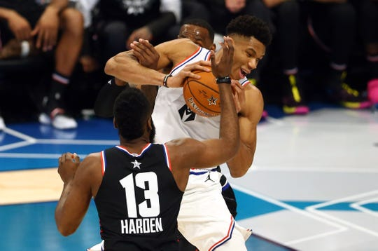 The Bucks' Giannis Antetokounmpo played against reigning MVP James Harden of the Rockets in the NBA All-Star Game. Their teams will meet Tuesday at Fiserv Forum.