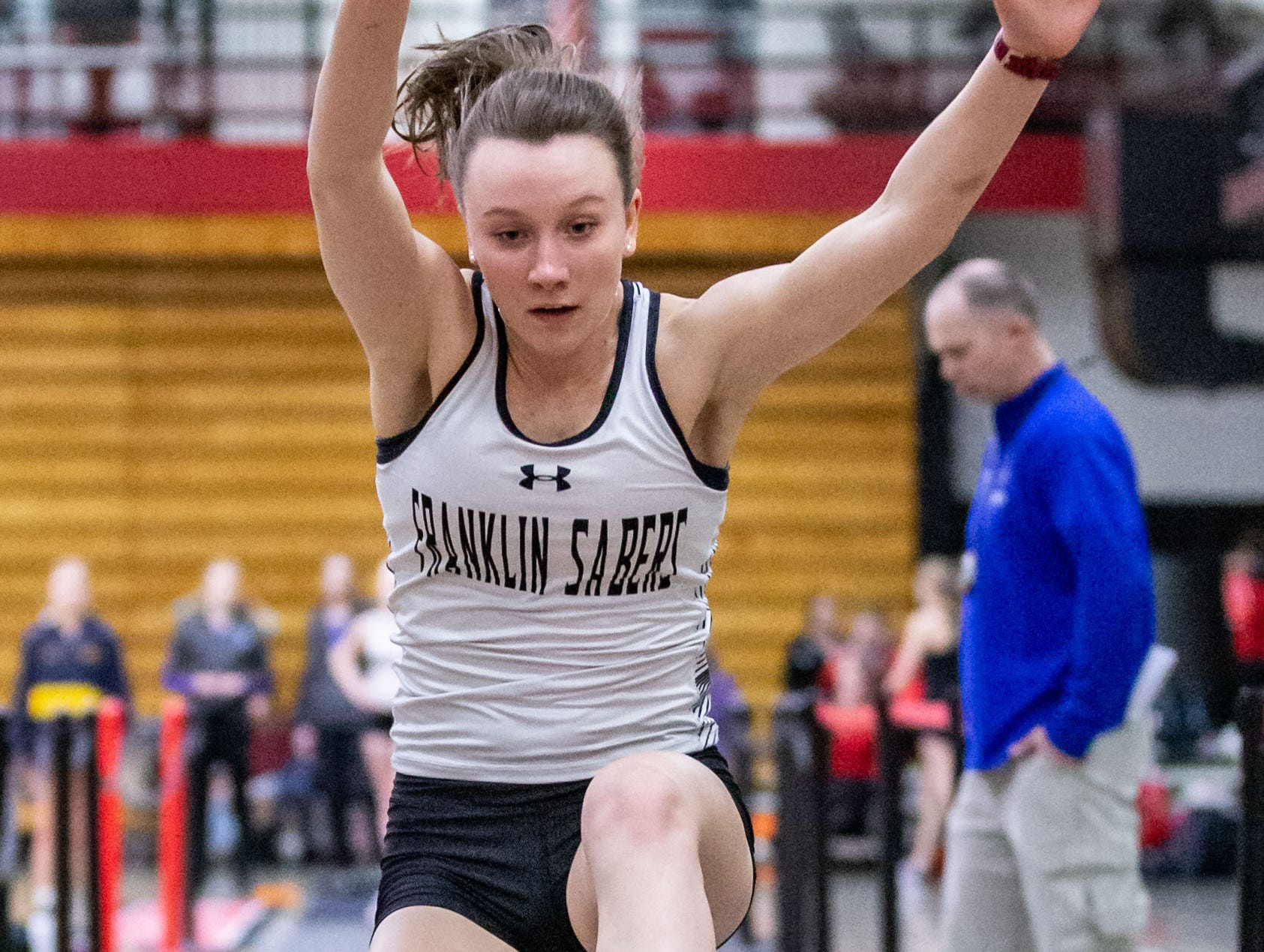 Franklin's Kaitlin Gawelski competes in the triple jump at the Peter Rempe Cardinal Relays hosted by Waukesha South on Thursday, March 21, 2019.