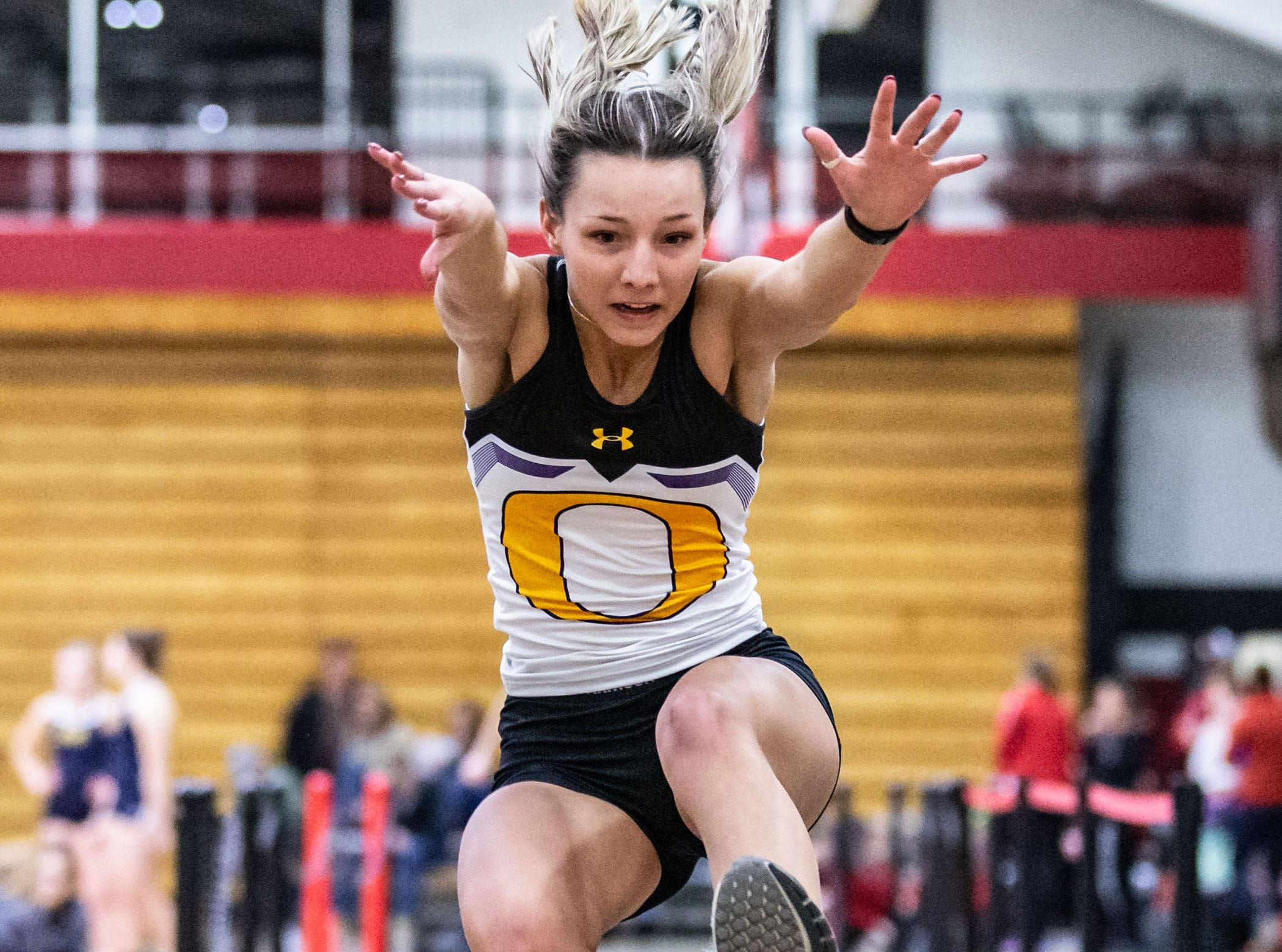 Oconomowoc's Sarah Letscher competes in the long jump at the Peter Rempe Cardinal Relays hosted by Waukesha South on Thursday, March 21, 2019.