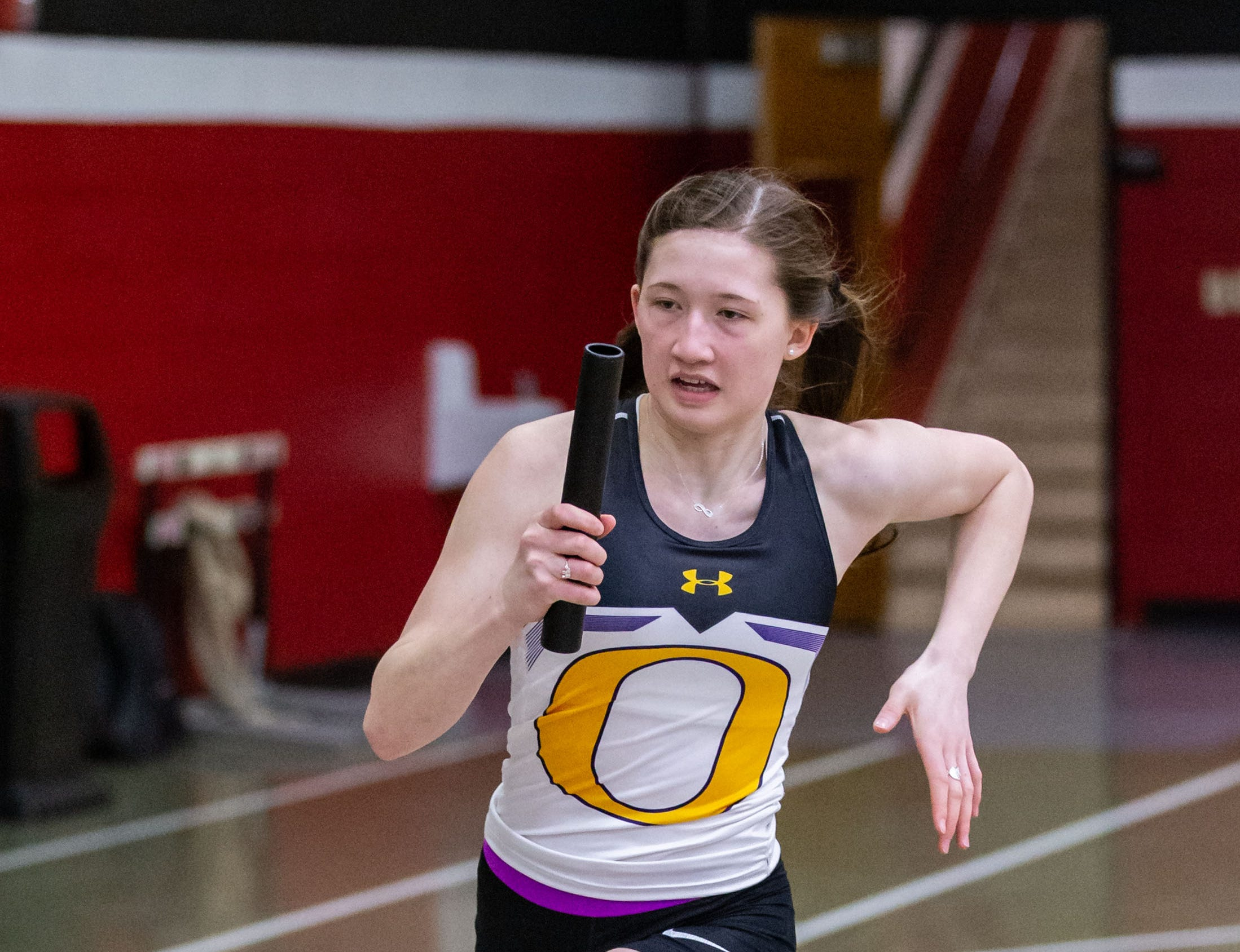 Oconomowoc's Claire Cotey competes in the sprint medley relay at the Peter Rempe Cardinal Relays hosted by Waukesha South on Thursday, March 21, 2019.