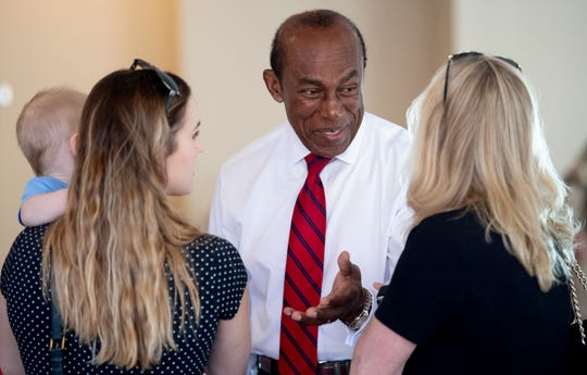 Ed Crowell chats with supporters as he announces that he is running for mayor of Montgomery during a press conference in Montgomery, Ala., on Monday March 25, 2019.