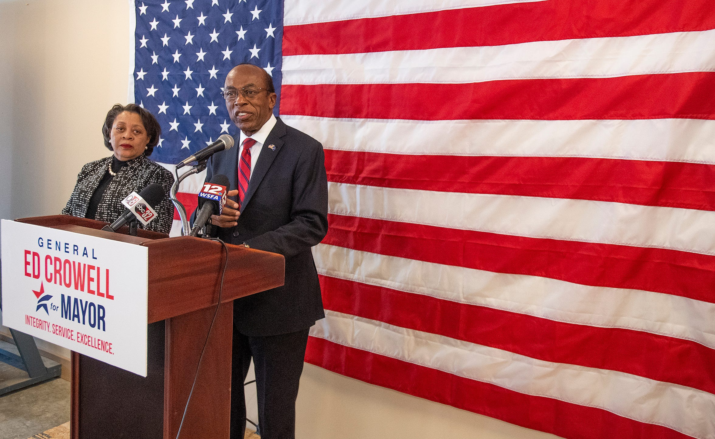 Ed Crowell, with his wife Ernestine Crowell at his side, announces that he is running for mayor of Montgomery during a press conference in Montgomery, Ala., on Monday March 25, 2019.