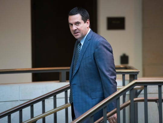 "FILE - In this Feb. 27, 2018 file photo, House Intelligence Committee Chairman Devin Nunes, R-Calif., a close ally of President Donald Trump, arrives at the Capitol in Washington. Nunes is suing Twitter and several of its users for more than $250 million, accusing them of defamation and negligence. The suit filed Monday, March 18, 2019, in Virginia accuses Twitter of ""knowingly hosting and monetizing content that is clearly abusive, hateful and defamatory."" (AP Photo/J. Scott Applewhite, File)"