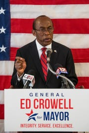 Ed Crowell announces that he is running for mayor of Montgomery during a press conference in Montgomery, Ala., on Monday March 25, 2019.