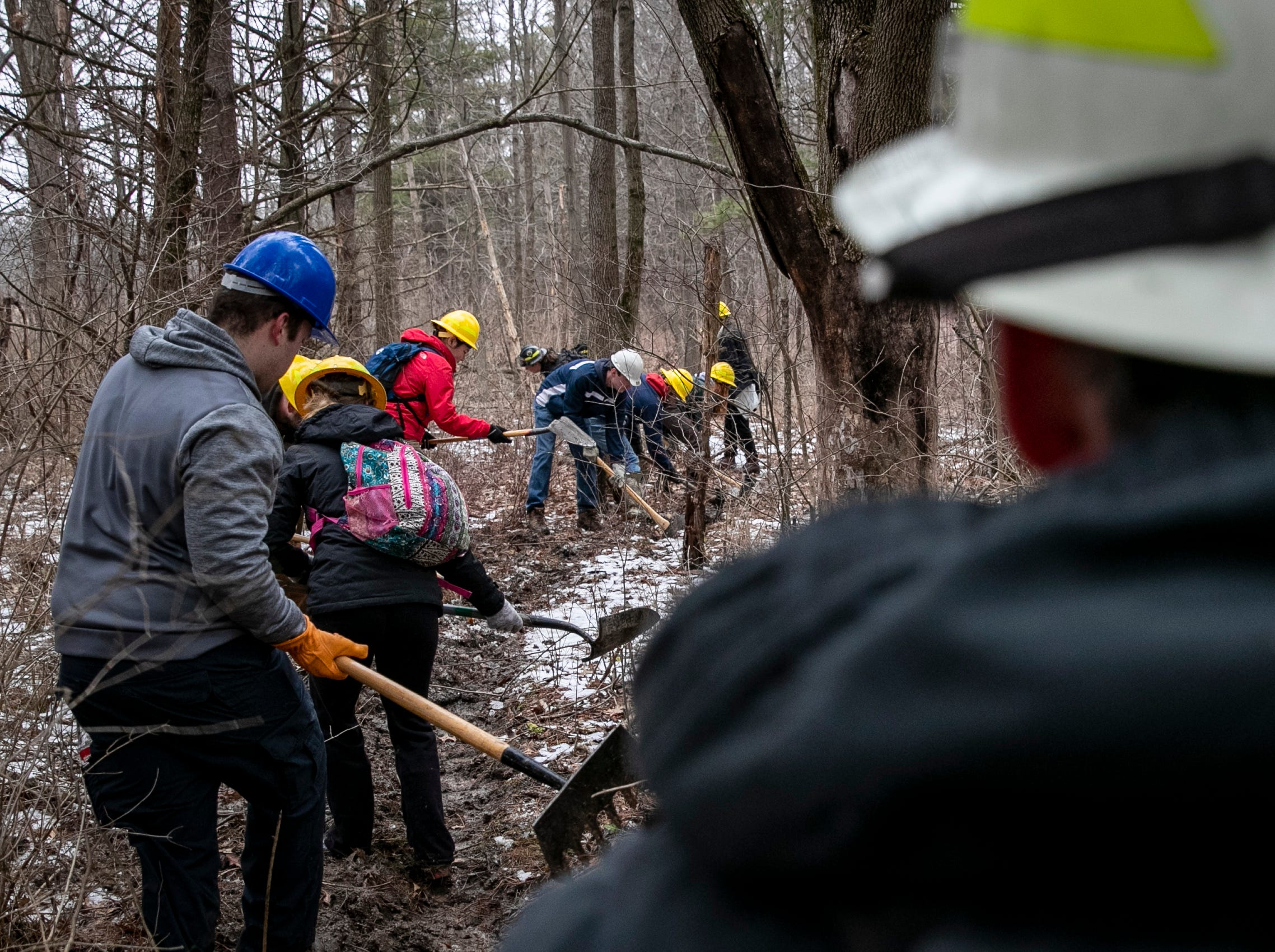 "Students and instructors run a series of drills including a ""pack test"" for certification at the end of February. Different skills are taught in the workshop prior to the controlled burn, which took place on March 24, including how to make a fire break and more."