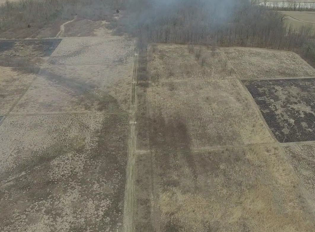 Aerial photos from a drone show the extent of the fire spread on March 24 during a controlled burn exercise at Ball State's Cooper Farm.
