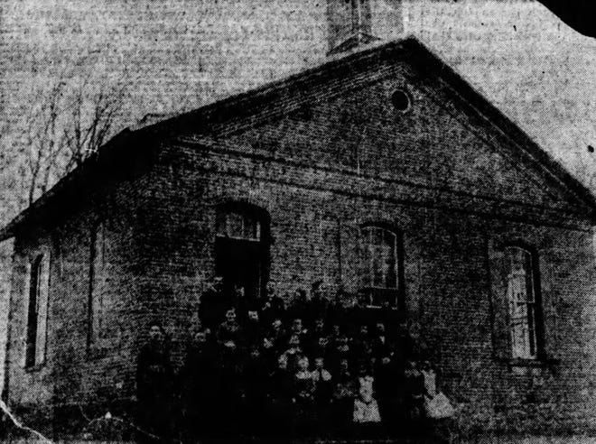 """Center Township School #4, known as """"Hazel College,"""" was built at what is now the northwest corner of the Jackson-Tillotson intersection around the time of the gas boom."""