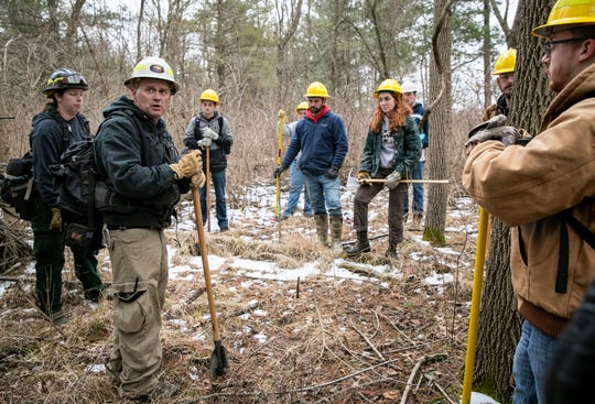 """Students and instructors run a series of drills including a """"pack test"""" for certification at the end of February. Different skills are taught in the workshop prior to the controlled burn, which took place on March 24, including how to make a fire break and more."""