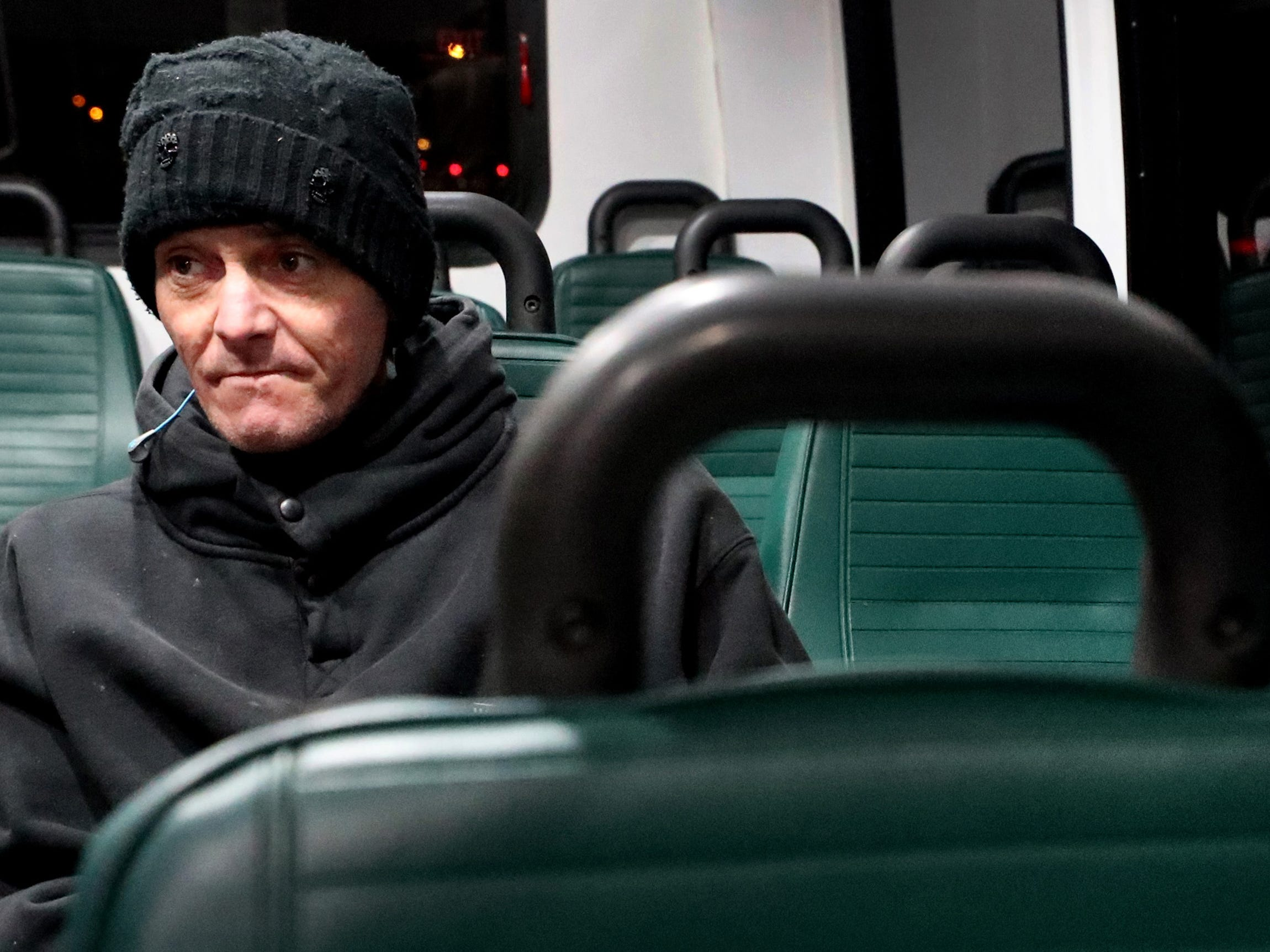 Scott Medlee rides the 6 am bus to go to work at Demos' Restaurant, on Tuesday, March 19, 2019. Many people rely on the Murfreesboro bus service Rover to get back and forth to their jobs.