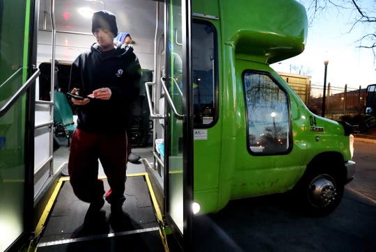 Scott Medlee exits the Rover bus that serves Murfreesboro's Mercury Boulevard area in this March 2019 photo. The city will begin offering Saturday service for its Mercury, Highland and Old Fort Routes on Feb. 1.