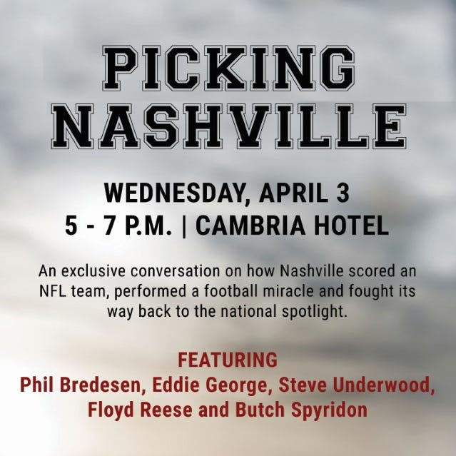 How Nashville scored an NFL team: Eddie George, Phil Bredesen to headline exclusive Draft-kickoff event