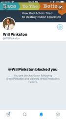 Will Pinkston has taken heat for blocking Twitter users.