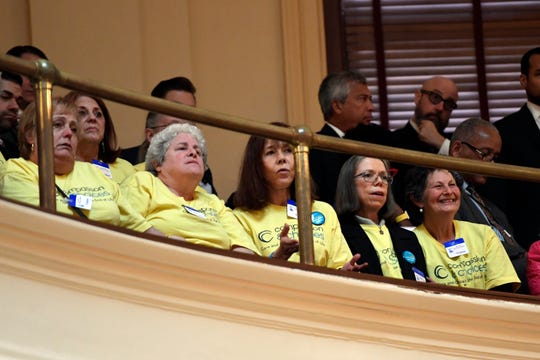 Advocates for Compassion and Choices New Jersey react as the state legislature passes the Medical Aid in Dying for the Terminally Ill Act on Monday, March 25, 2019, in Trenton.