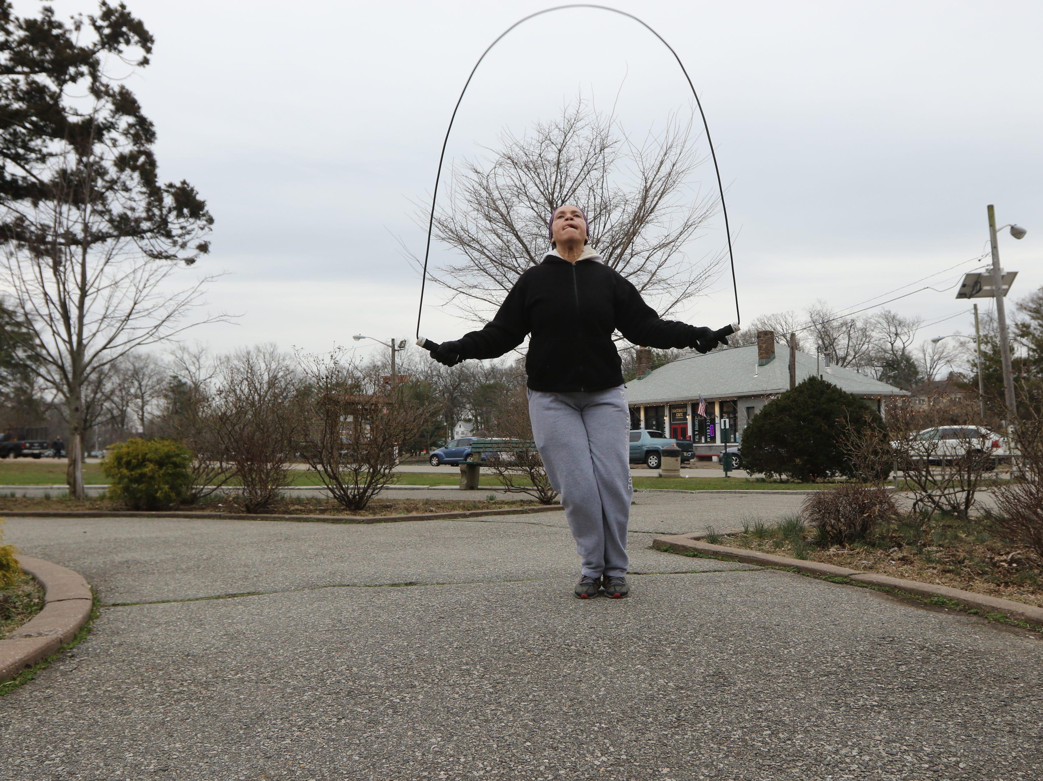 Berkis Baez jumps rope at Third Ward Park, in Passaic. Monday, March 25, 2019