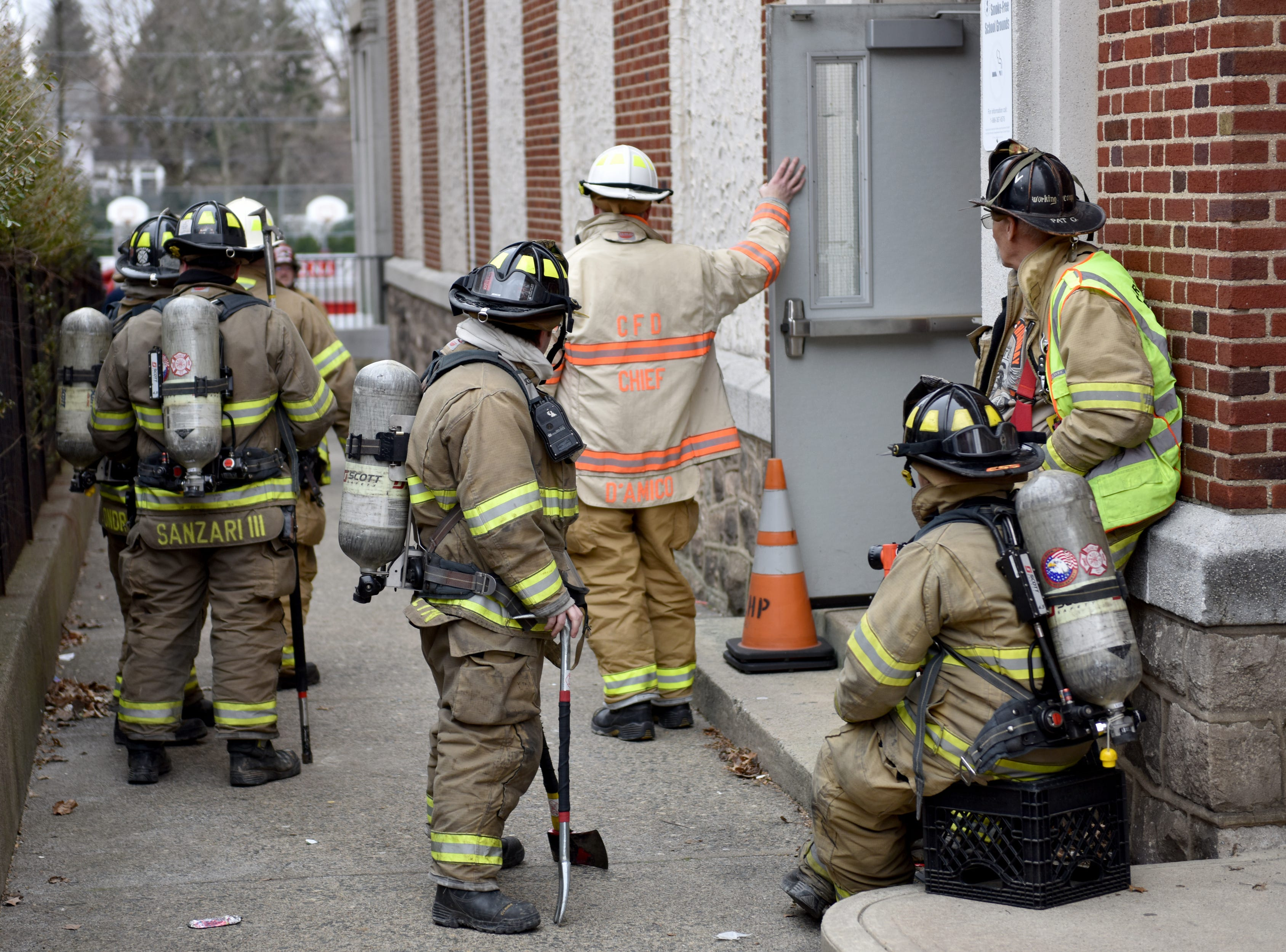 Fire companies from surround towns came to investigate a smoke condition at Alfred S. Faust Intermediate School inEast Rutherford on Monday March 25, 2019.