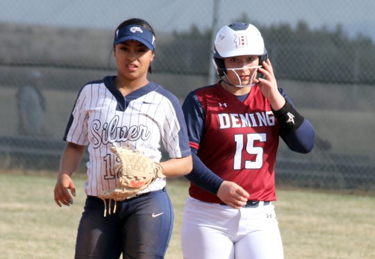 Sophomore Lady 'Cat Palmira Valentine (15) has become familiar with the bases as one of Deming High's most consistent hitters.