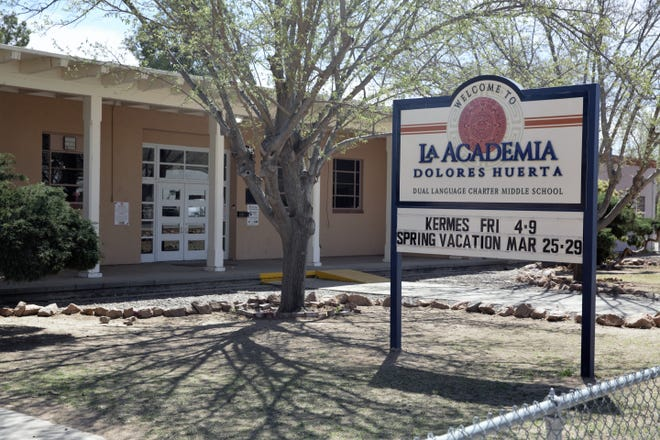 The entrance to La Academia Dolores Huerta charter middle school at 400 W. Bell Avenue in Las Cruces on March 25, 2019.
