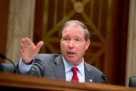 This May 16, 2018 file photo shows ranking Member Sen. Tom Udall, D-N.M., questioning Environmental Protection Agency Administrator Scott Pruitt on Capitol Hill in Washington. Udall says he will not seek re-election in 2020 in a move that opens up a securely Democratic seat to competition. Udall announced the end of a 20-year career on Capitol Hill on Monday, March 25, 2019, in a statement.