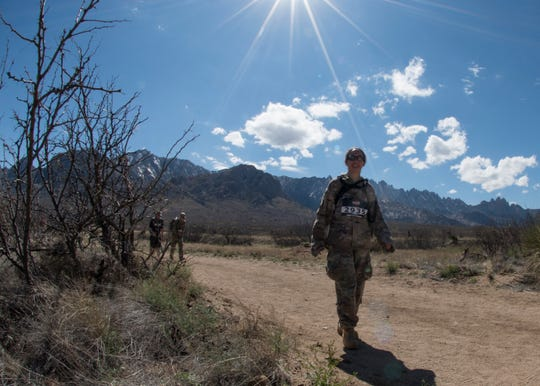 Maj. Brianne Rahn, 49th Wing Staff Judge Advocate deputy, marches the Bataan Memorial Death March, March 17, 2019, on White Sands Missile Range, N.M. Rahn completed the 26.2 mile course in approximately 8 hours.