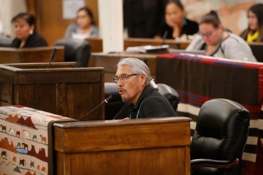 Delegate Elmer Begay address the Navajo Nation Council during the winter session on Jan. 28 in Window Rock, Ariz.