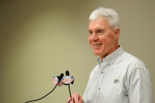 Green Bay Packers GM Ted Thompson is all smiles as he speaks to the media about his second first-round NFL draft pick, USC linebacker Clay Matthews, on April 25, 2009. Green Bay Press-Gazette photo.