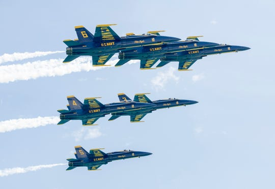 The Blues Angels flew over Pensacola Beach on Monday as they returned from winter training in El Centro, California.