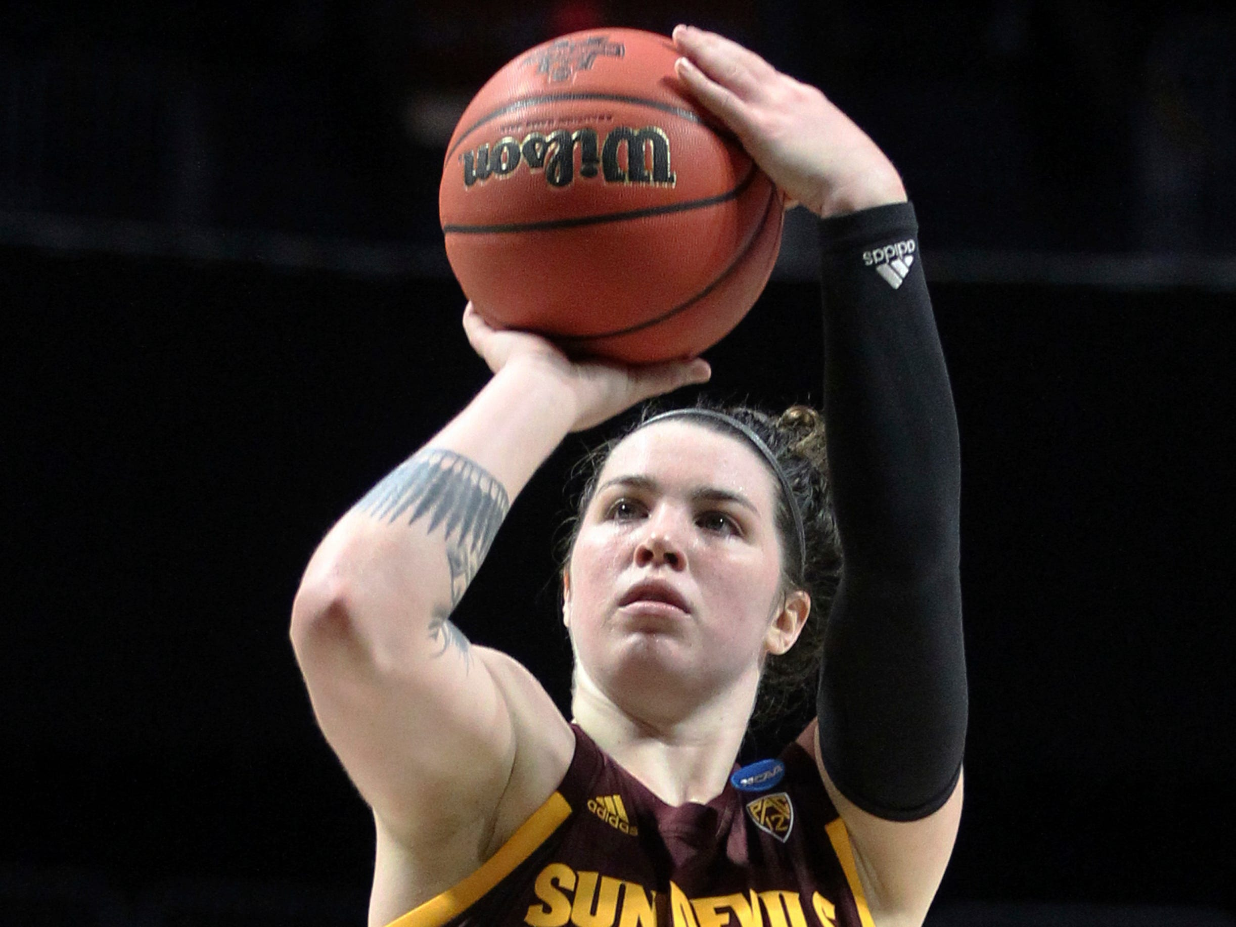 Arizona State's Robbi Ryan shoots her second free throw after being fouled by Miami's Emese Hof late in the second-round women's college basketball game in the NCAA Tournament, Sunday, March 24, 2019, in Coral Gables, Fla. Arizona State won 57-55. (AP Photo/Luis M. Alvarez)