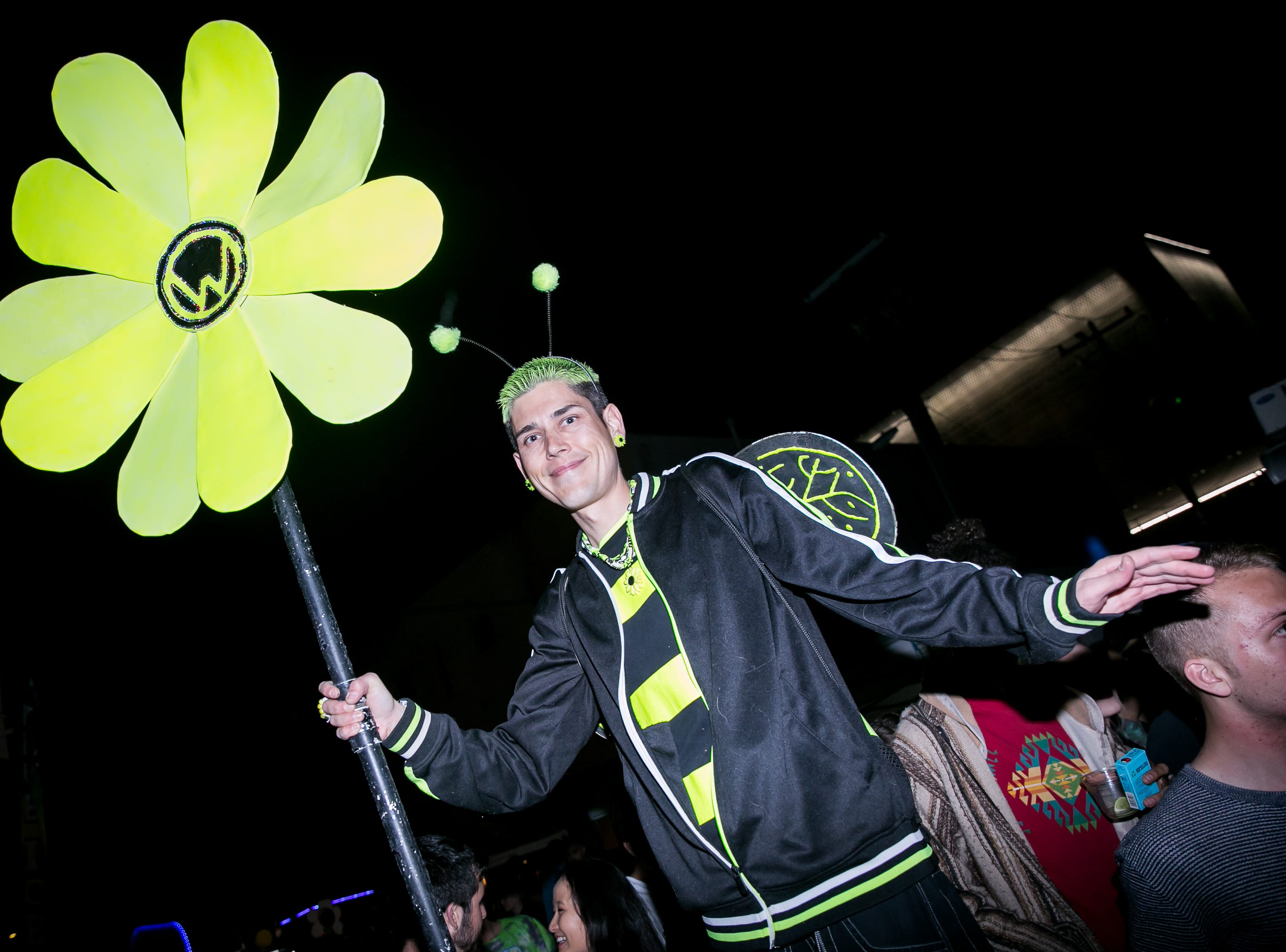 This bumblebee walked around on stilts at the Full Moon Festival at the Pressroom on March 23, 2019.