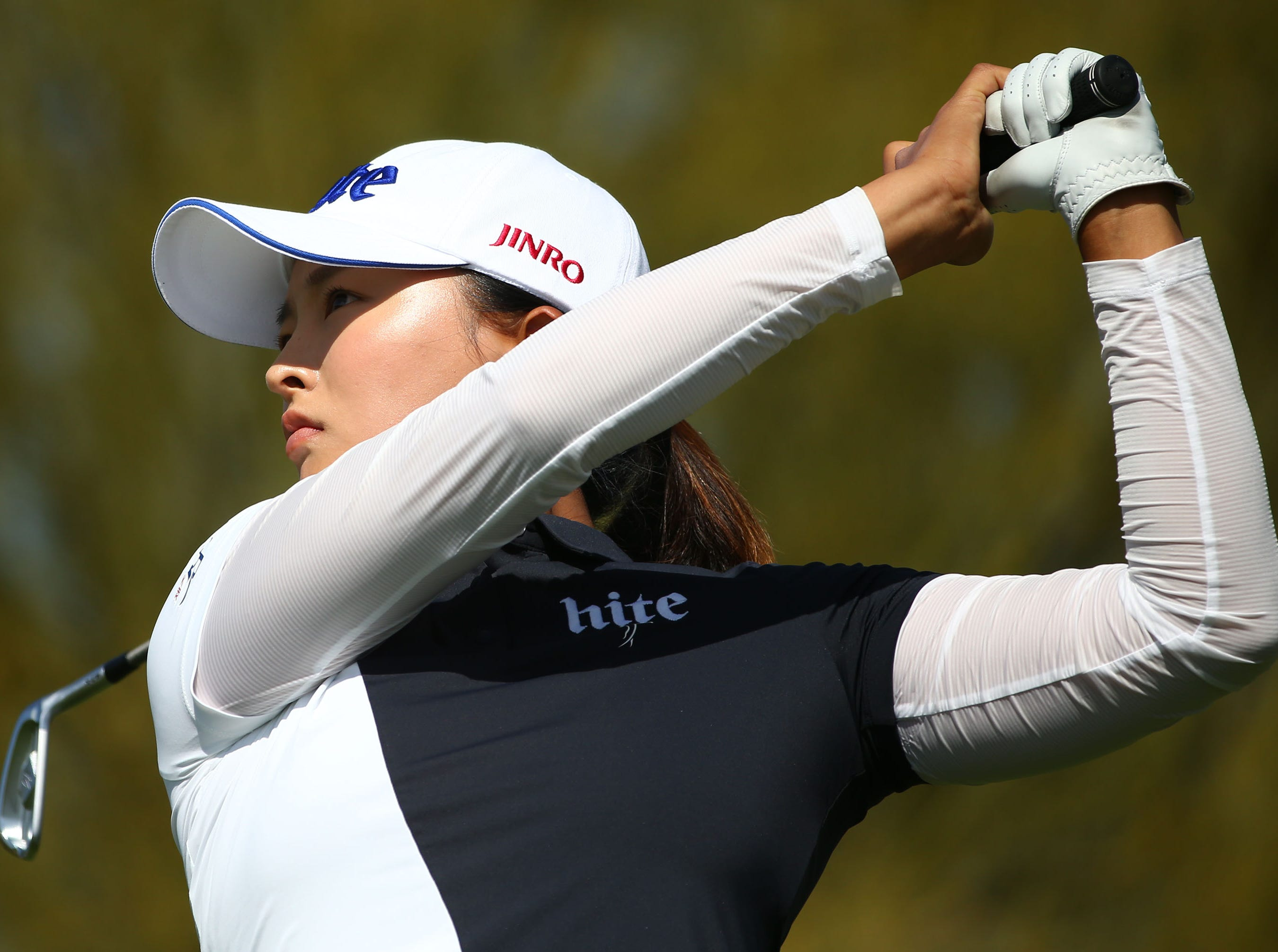 Jin Young Ko of South Korea hits her tee shot of the 4th hole during final round action at the Bank of Hope Founders Cup on Mar. 24, 2019 at Wildfire Golf Club at JW Marriott in Phoenix, Ariz.