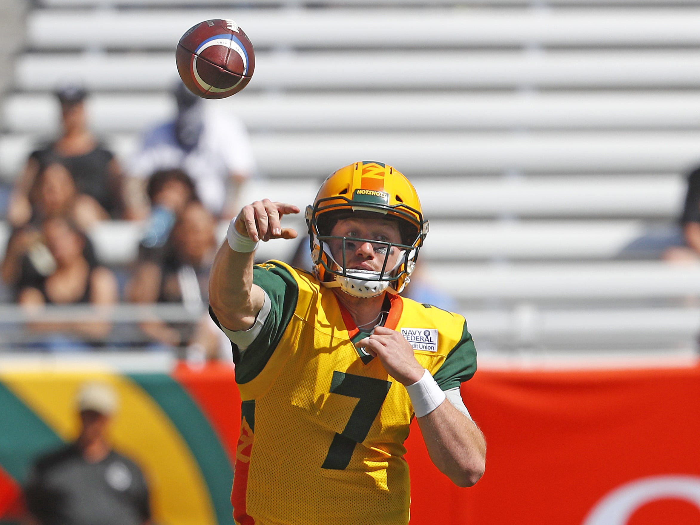 Hotshot's quarterback John Wolford (7) throws a pass during the first half at Sun Devil Stadium in Tempe, Ariz. on March 24, 2019.