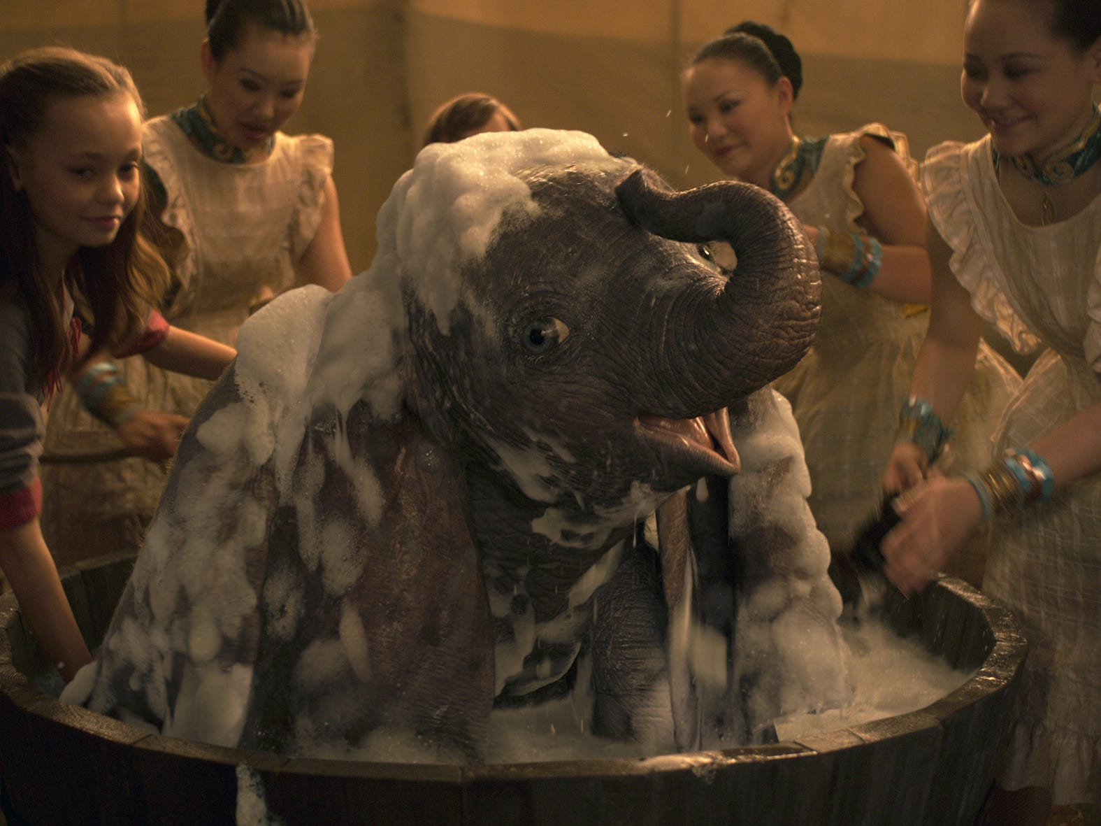 "The title character in ""Dumbo"" gets a bath."