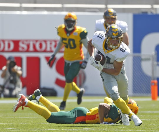 Westlake High graduate Nelson Spruce, shown playing for the San Diego Fleet of the now-defunct Alliance of American Football, will play for the Los Angeles Wildcats of the XFL.