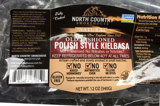 North Country Smokehouse were sausages recalled by the USDA on March 23, 2019.