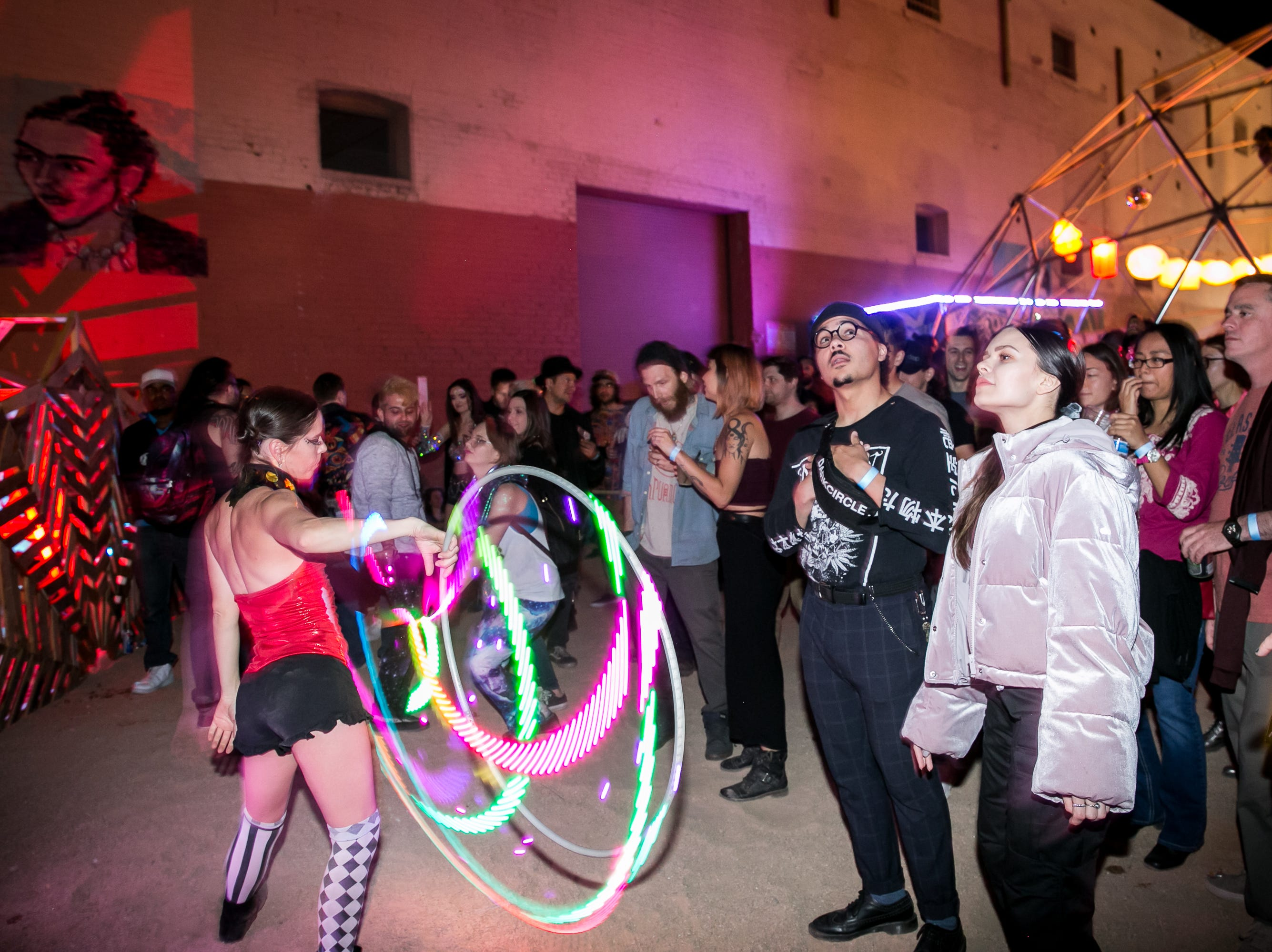 Hoop dancers were fun to watch at the Full Moon Festival at the Pressroom on March 23, 2019.