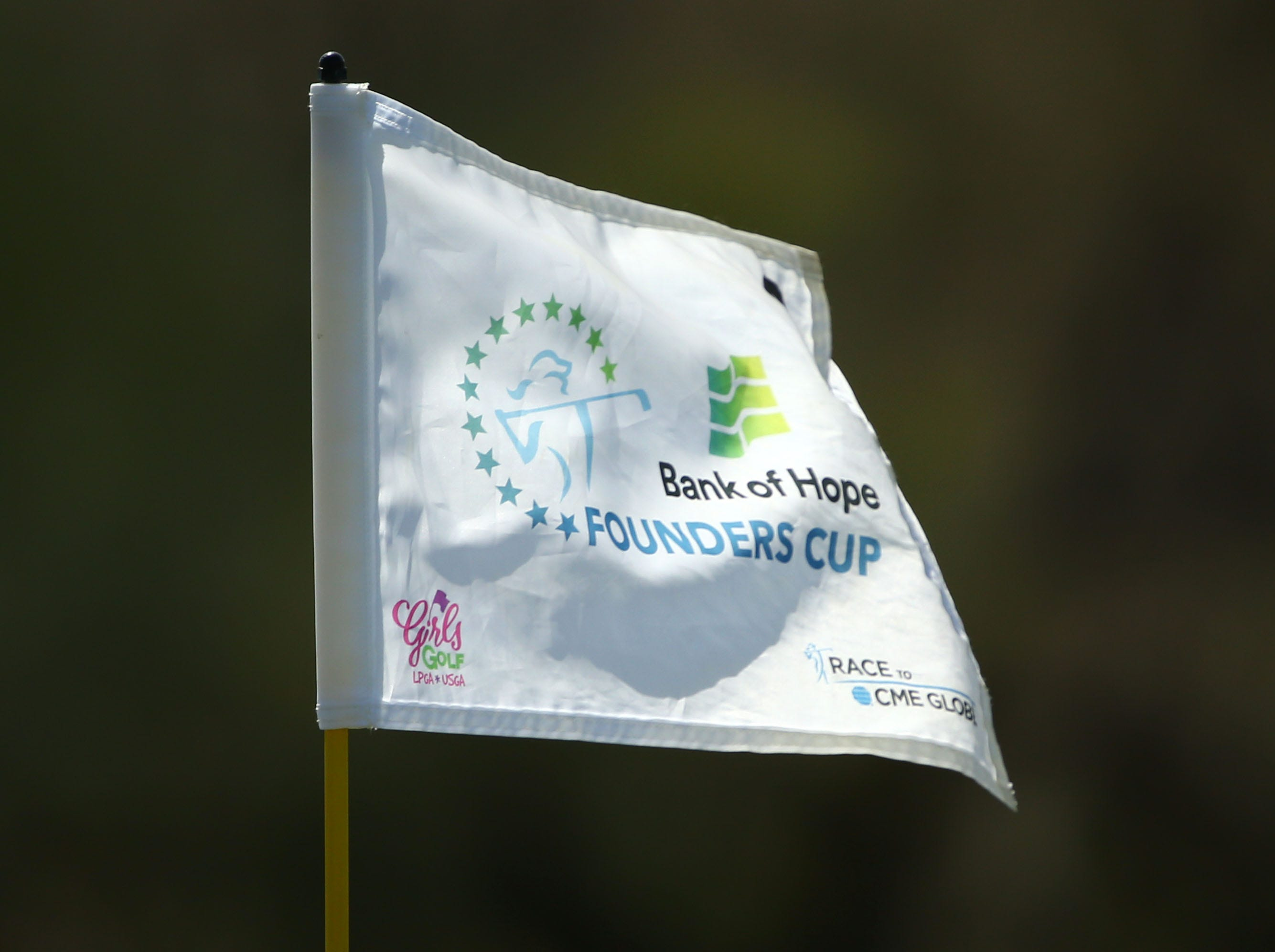 Bank of Hope Founders Cup flag on Mar. 24, 2019 at Wildfire Golf Club at JW Marriott in Phoenix, Ariz.