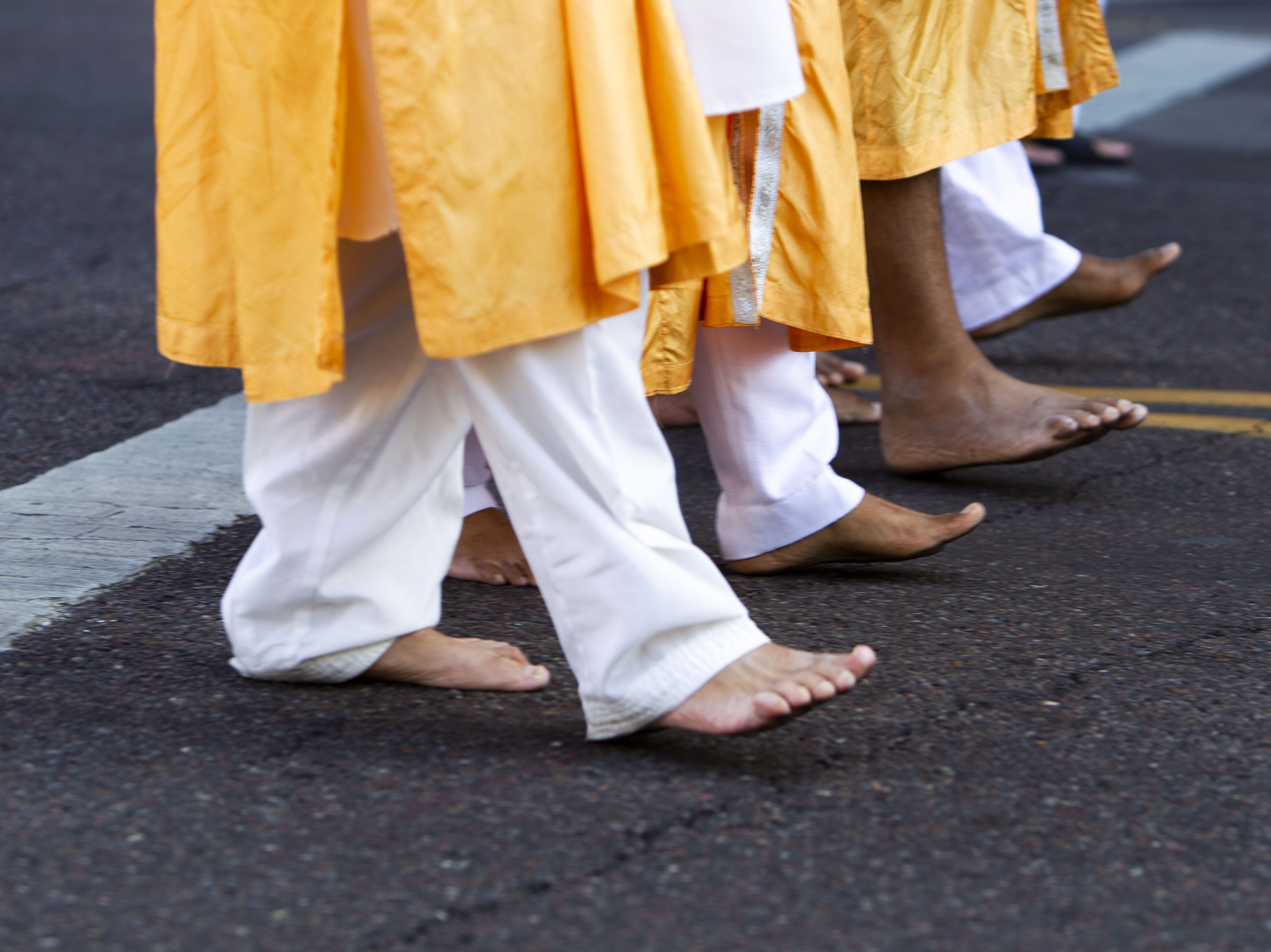A Nagar Kirtan procession in downtown Phoenix is led by the Panj Pyare, five Sikh men, on March 24, 2019.