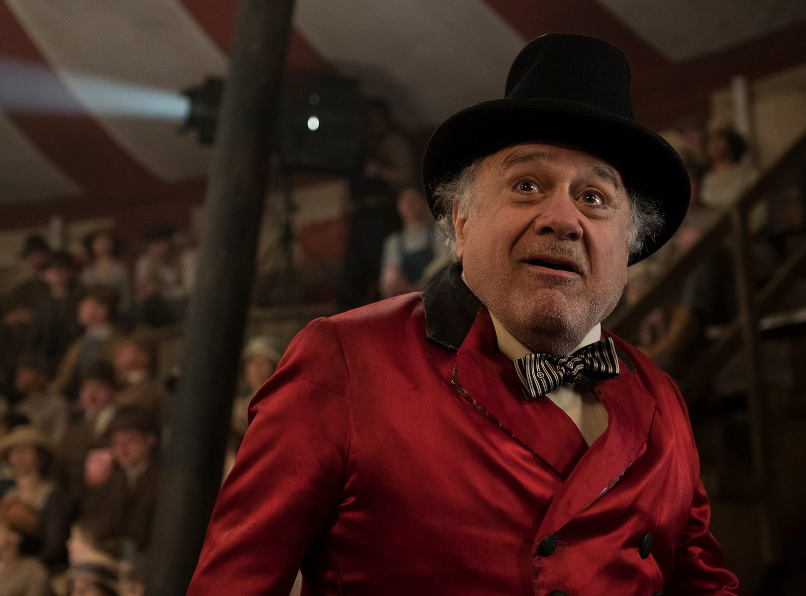 "In ""Dumbo,"" circus owner Max Medici (Danny DeVito) is disappointed to learn that a newborn elephant has enormous ears."