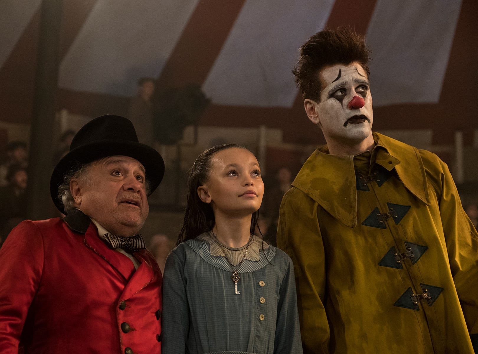"Danny DeVito (from left), Nico Parker and Colin Farrell star in ""Dumbo."""