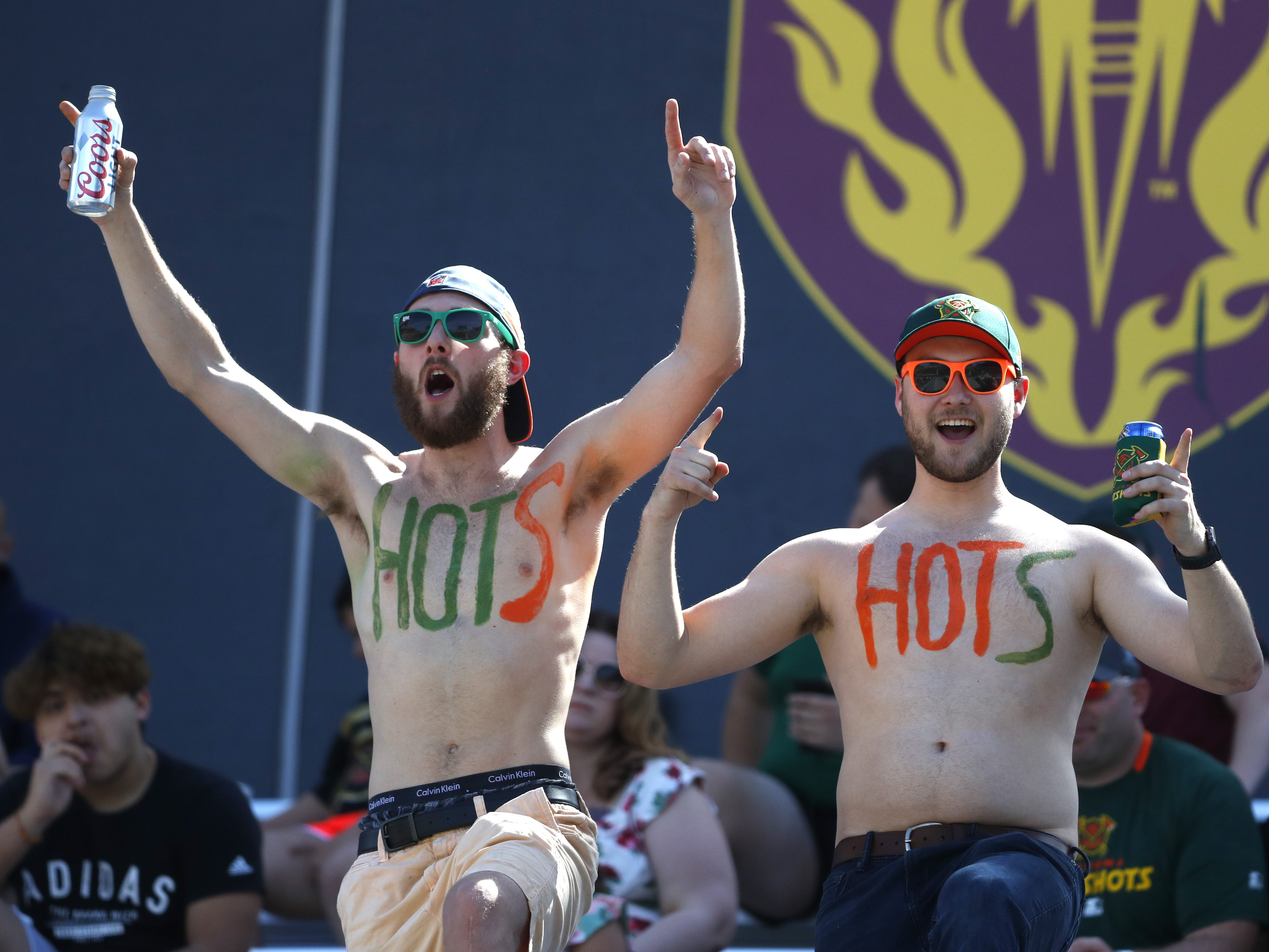 Hotshots fans celebrate a defensive stop against the Fleet during the second half at Sun Devil Stadium in Tempe, Ariz. on March 24, 2019.