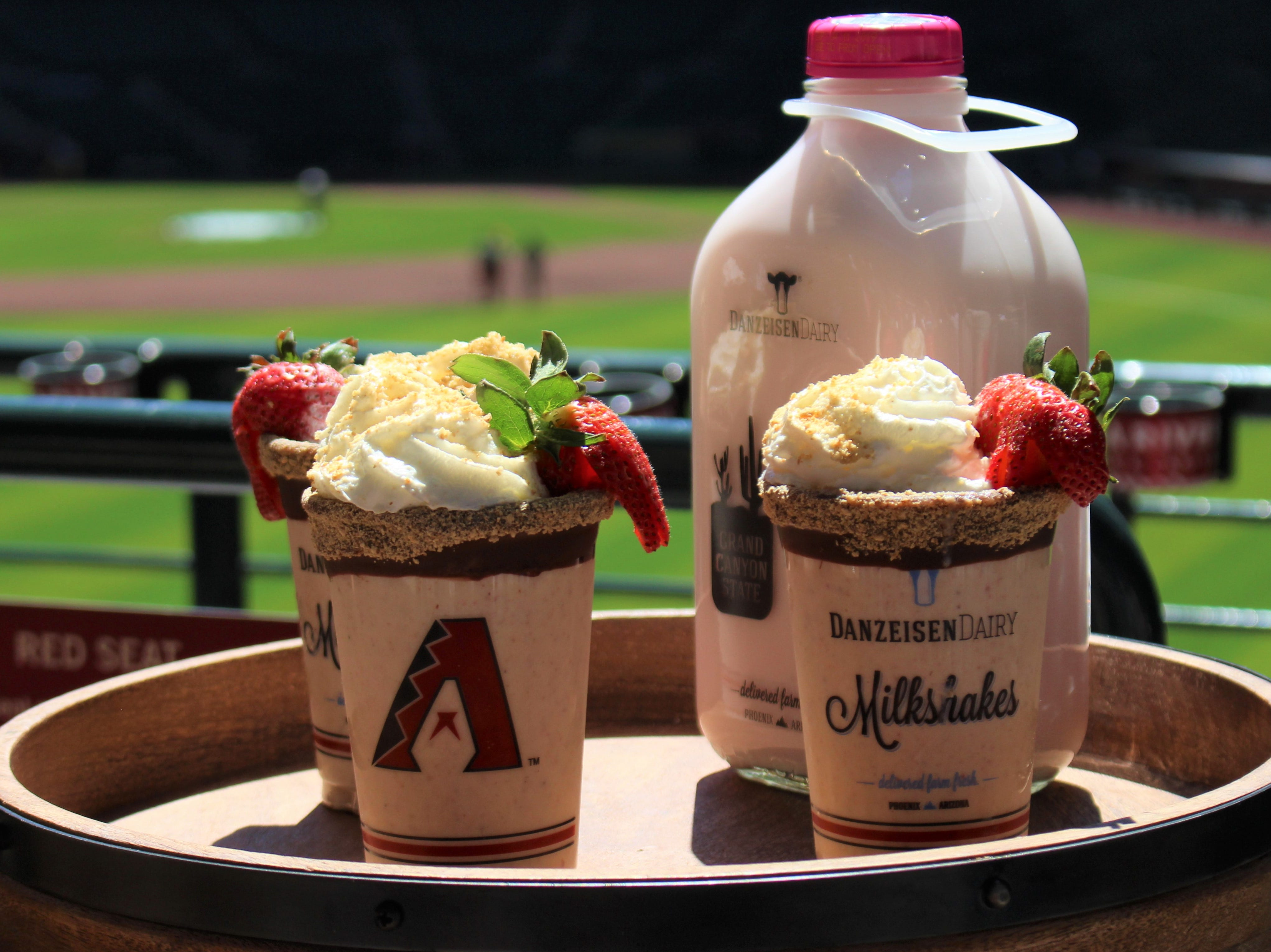 New to Chase Field: Strawberry Cheesecake Shake made with Danzeisen strawberry milk, soft serve, strawberries, graham cracker crumbs, New York cheesecake, whipped cream, chocolate and a graham cracker rim. Available for $10 at Sizzle & Cheese and Taste of Chase.
