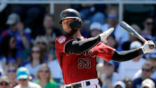 Arizona Diamondbacks' Christian Walker in action against the Chicago Cubs in a spring training baseball game Saturday, March 16, 2019, in Scottsdale, Ariz.