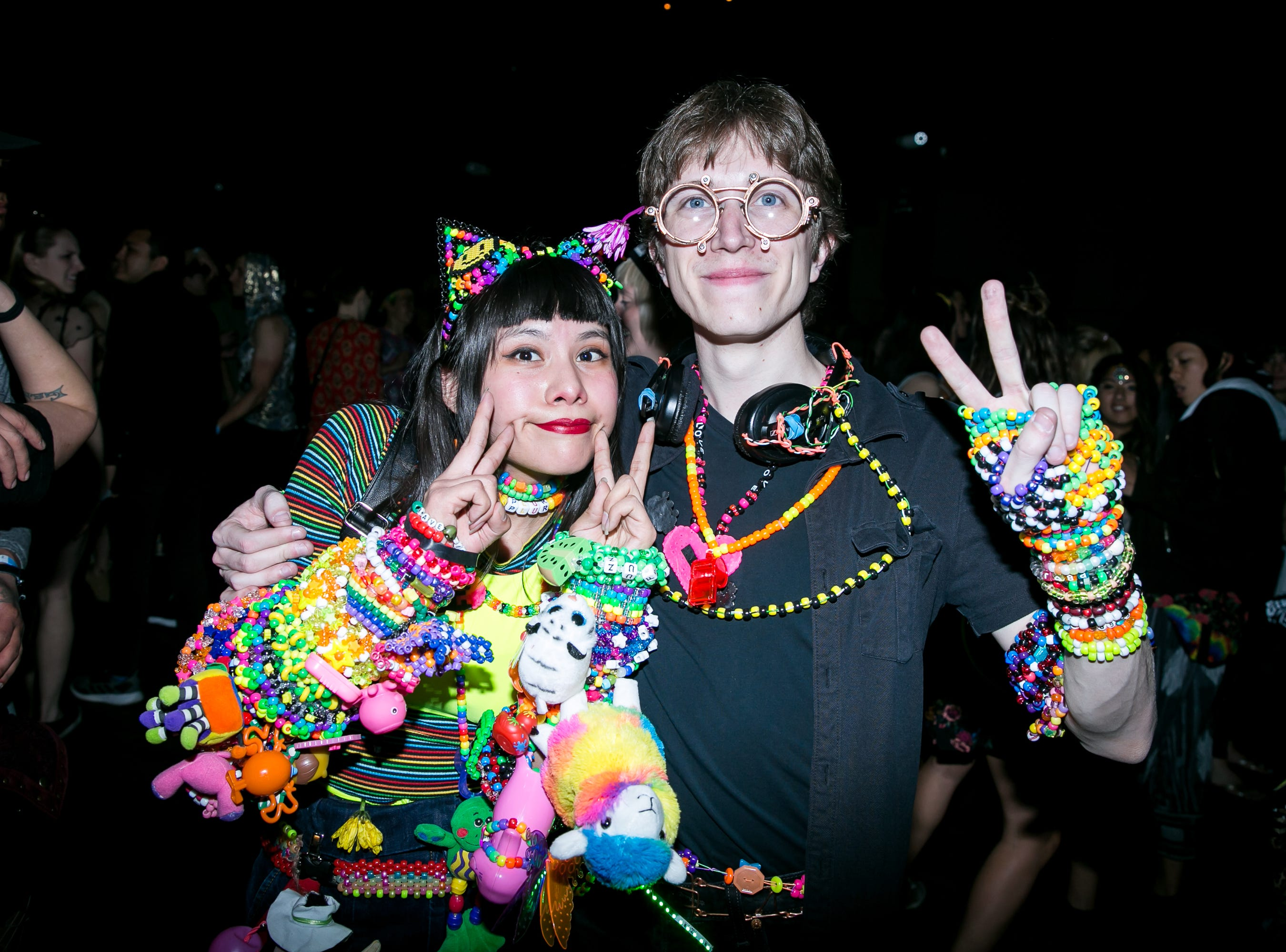 These two were decked out at the Full Moon Festival at the Pressroom on March 23, 2019.