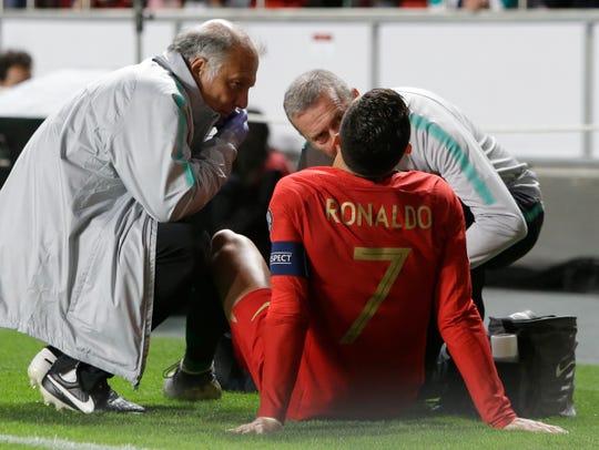 La lesión de Cristiano llegó a los 30 minutos.