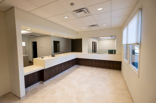 The lobby of the newly renovated Clyde Township offices, where general business will be held. Behind the counters, elected officials and the assessor's office, department of public works and the building inspector each have their own offices.