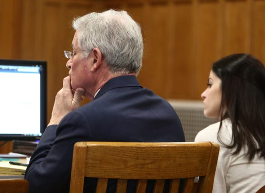 Nicole Addimando with part of her legal team, Benjamin Ostrer in court prior to taking the witness stand on March 25, 2019.